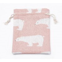 Polycotton Drawstring Pouch, Polar Bear Print on Pink, 5.5x4 inch