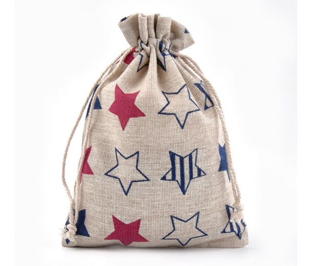 Cotton Drawstring Pouch, Star Print on Beige, 7x5 inch