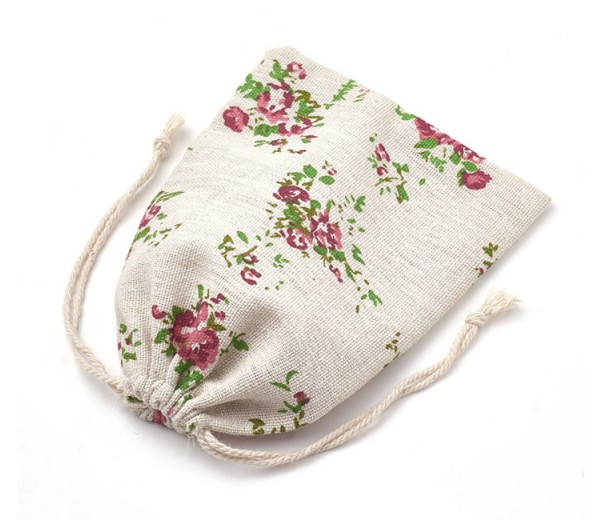 Cotton Drawstring Pouch, Rococo Print on Beige, 7x5 inch