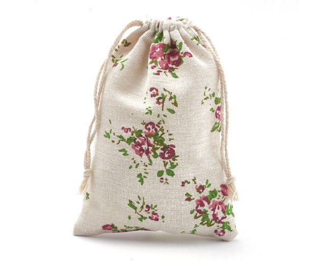Cotton Drawstring Pouch, Rococo Print on Beige, 7x5 inch