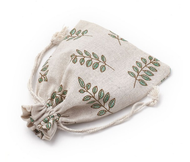Cotton Drawstring Pouch, Leaf Print on Beige, 7x5 inch