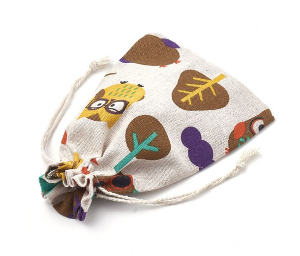 Cotton Drawstring Pouch, Forest Print on Beige, 7x5 inch