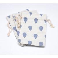 Cotton Drawstring Pouch, Blue Drop Print on Beige, 5.5x4 inch