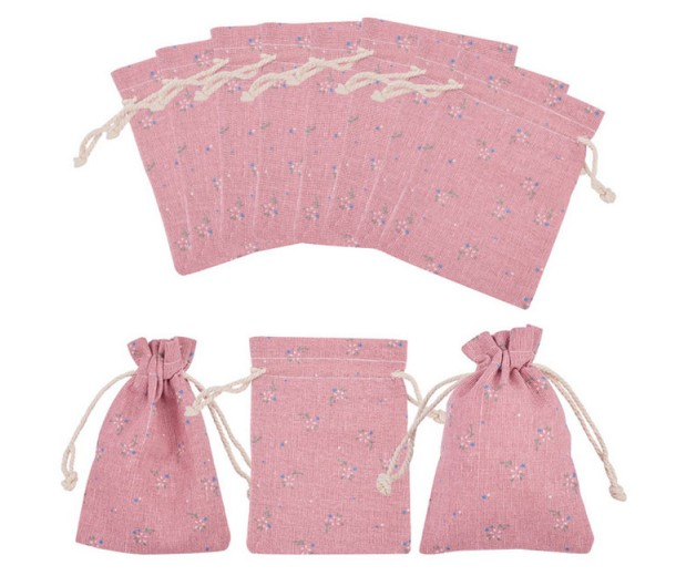 Cotton Drawstring Pouch, Flower Print on Pink, 5.5x4 inch