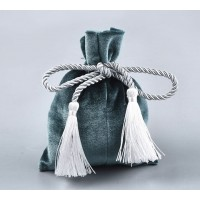 Velvet Drawstring Pouch with Tassels, Dark Teal, 5.5x4 inch