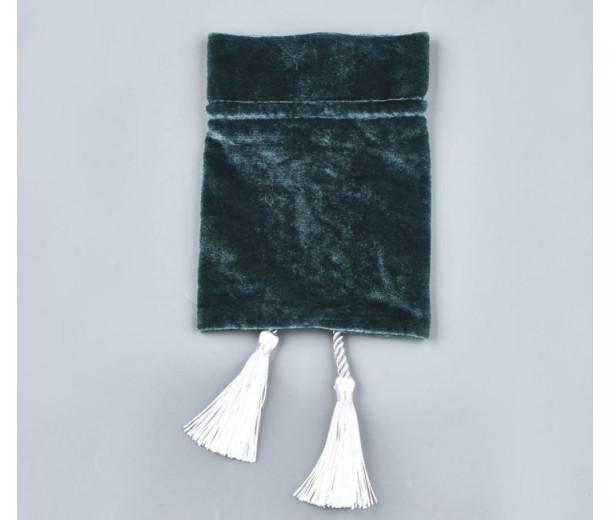 Velvet Drawstring Pouch with Tassels, Dark Teal, 5.5x4 inch