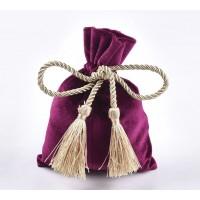 Velvet Drawstring Pouch with Tassels, Dark Fuchsia, 5.5x4 inch