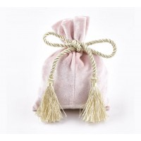 Velvet Drawstring Pouch with Tassels, Pastel Pink, 5.5x4 inch