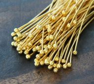 0.75 Inch 24 Gauge Ball Pins, Gold Plated