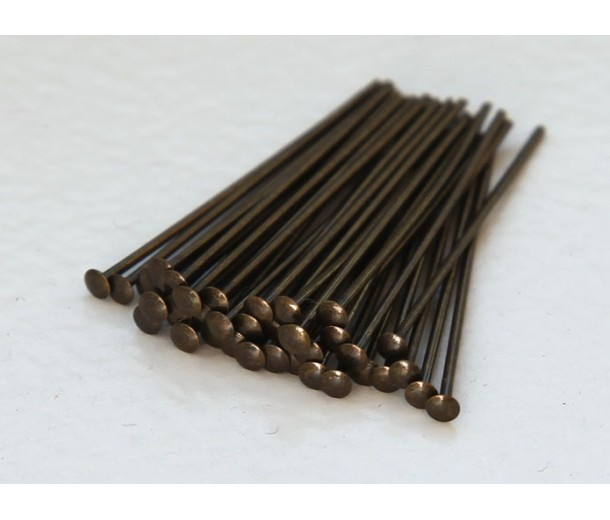 2 Inch 21 Gauge Head Pins, Antique Brass, Pack of 100