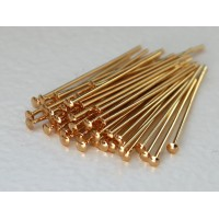 2 Inch 21 Gauge Head Pins, Gold Plated
