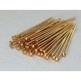 1 Inch 21 Gauge Head Pins, Gold Plated