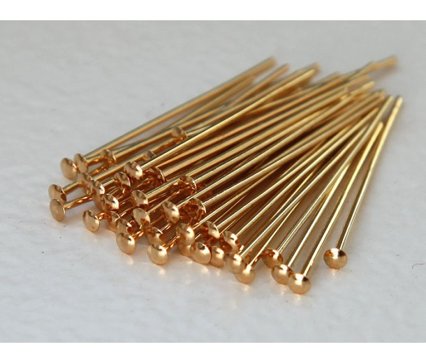 1 Inch 21 Gauge Head Pins, Gold Plated, Pack of 100