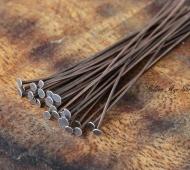 2 Inch 20 Gauge Head Pins, Antique Copper