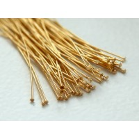 2 Inch 24 Gauge Head Pins, Gold Plated, Pack of 100
