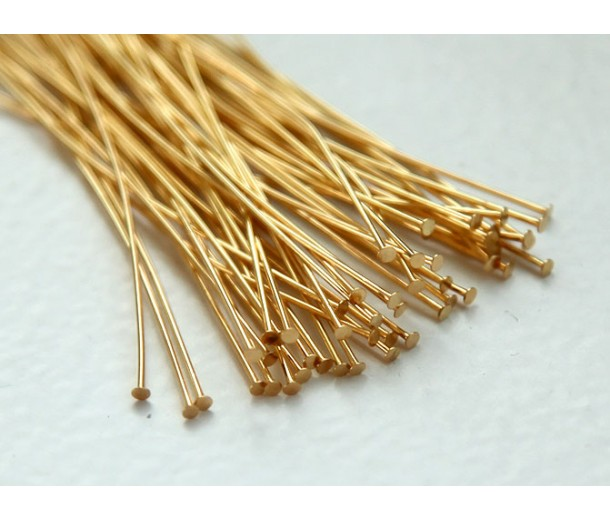 2 Inch 24 Gauge Head Pins, Gold Plated