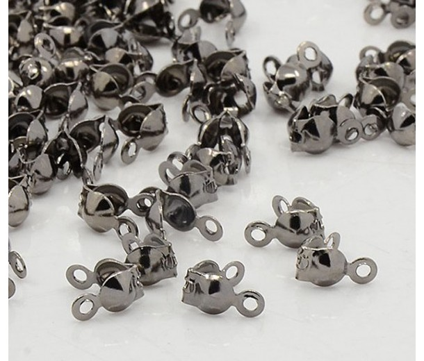 4x7mm Clamshell Bead Tips, Gunmetal