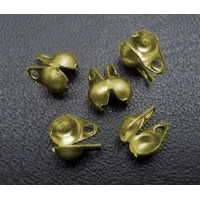 2x4mm Side Clamp Bead Tips, Antique Brass