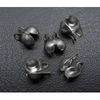 2x4mm Side Clamp Bead Tips, Gunmetal, Pack of 100