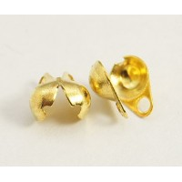 5x6mm Side Clamp Bead Tips, Gold Plated