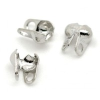5x6mm Side Clamp Bead Tips, Silver Plated, Pack of 100