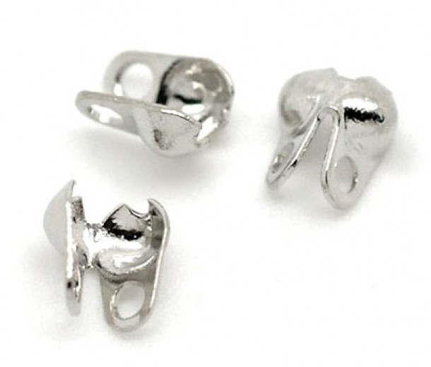 4x6mm Side Clamp Bead Tips, Silver Tone
