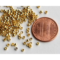 2mm Round Crimp Beads, Gold Tone, 3 Gram Bag