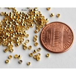 2mm Round Crimp Beads, Gold Tone