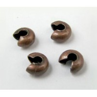 4mm Crimp Bead Covers, Antique Copper