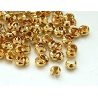 3mm Crimp Bead Covers, Gold Tone