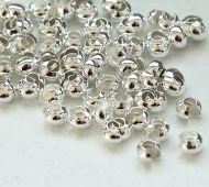 3mm Crimp Bead Covers, Silver Tone