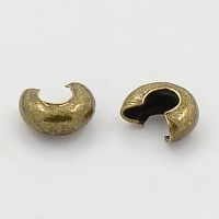 4mm Crimp Bead Covers, Antique Brass