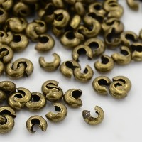 3mm Crimp Bead Covers, Antique Brass