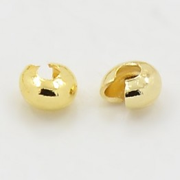 4mm Crimp Bead Covers, Gold Tone