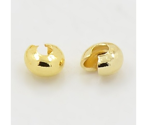4mm Crimp Bead Covers, Gold Tone, Pack of 100