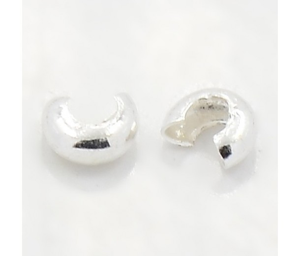 4mm Crimp Bead Covers, Silver Tone