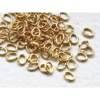 3x4mm 22 Gauge Open Jump Rings, Oval, Gold Tone