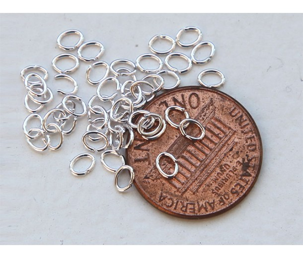 3x4mm 22 Gauge Open Jump Rings, Oval, Silver Tone