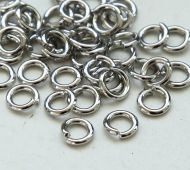 4mm 19 Gauge Open Jump Rings, Round, Platinum Tone