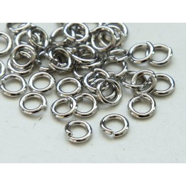 4mm 19 Gauge Open Jump Rings, Round, Platinum Tone