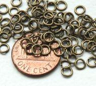 4mm 20 Gauge Open Jump Rings, Round, Antique Brass