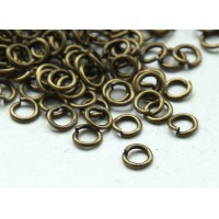 4mm 21 Gauge Open Jump Rings, Round, Antique Brass, Pack of 100