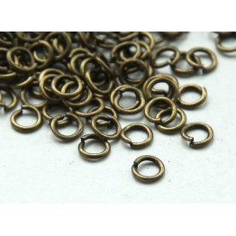 4mm 21 Gauge Open Jump Rings, Round, Antique Brass