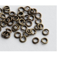 5mm 18 Gauge Open Jump Rings, Round, Antique Brass, 9 Gram Bag