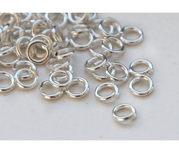 5mm 18 Gauge Open Jump Rings, Round, Silver Tone, Pack of 100