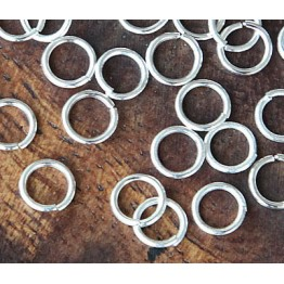 6mm 21 Gauge Open Jump Rings, Round, Silver Tone