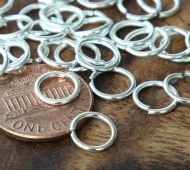 8mm 18 Gauge Open Jump Rings, Round, Silver Tone