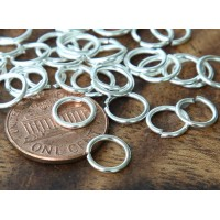 8mm 18 Gauge Open Jump Rings, Round, Silver Tone, Pack of 100