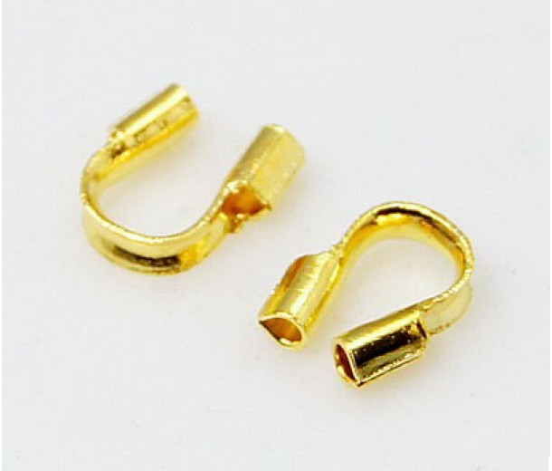4x5mm Wire Protectors, Gold Tone