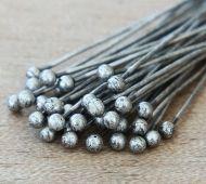 1.5 Inch 22 Gauge Ball Pins, Antique Silver